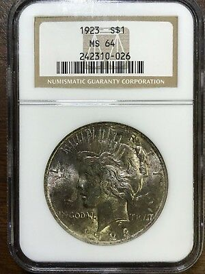 1923 Peace Silver Dollar - NGC MS64 - BRILLIANT UNCIRCULATED - #310-026