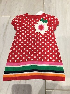 Nwt Gymboree Baby Girl Red Polka Dots  Dress Size 3-6 M Fall Thanksgiving