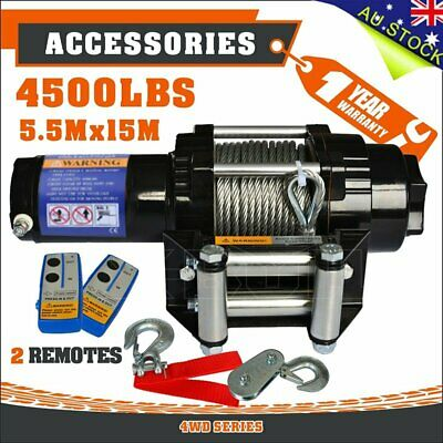 Wireless 4500LBS/2041kg 12V Electric Winch Boat ATV 4WD Steel Cable 2 Remote AUT