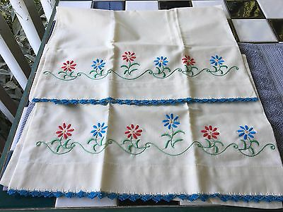 Lovely Set Vintage Primitive Pillowcases Hand Embroidered Aqua Blue/Red/Green