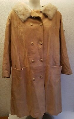 Vintage Neusteters Deerskin Leather Suede Button Up Coat w Fur Mink Collar Sz 16