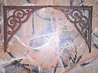 Antique Pair of Heavy Cast Iron Brackets Architectural Garden Victorian Scrolls