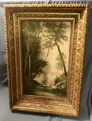 Antique Oil On Canvas River Forest Scene Beautiful Gold Leaf Victorian Frame