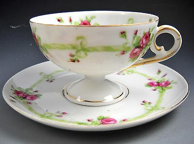Victoria Crown Austria Vintage White Footed Tea Cup Saucer Set Pink Rose Spray