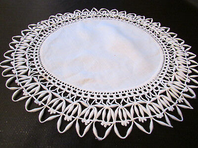 Vintage / Antique Handmade Off White Linen Doily with Crocheted Lace Edge 11""