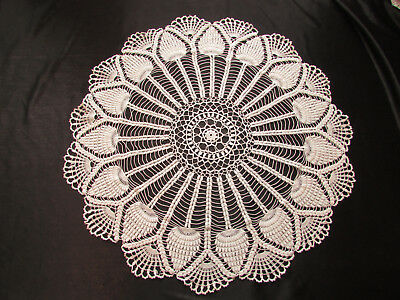 Vintage / Antique Handmade Crocheted Off White Doily 23 1/2""