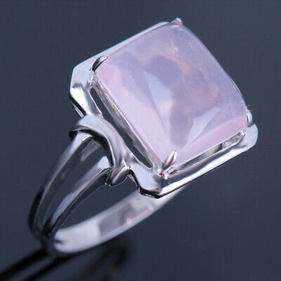 Lady Jewerly 10x8mm Cushion Engagement Prongs Pink Quartz Ring Sterling Silver Engagement & Wedding Bridal & Wedding Party Jewelry