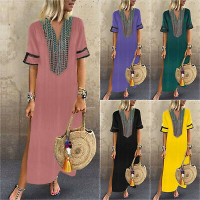 Women Short Sleeve Boho Casual Loose Floral Kaftan Maxi Dress Ladies Long Dress