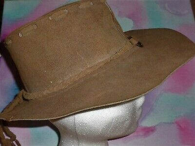 910481ced7f 60s 70s Style Floppy Suede Leather Hat hippie boho Brown