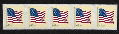 SCOTT 4188 41 CENT U.S. FLAG STRIP OF 5 w/PLATE NUMBER V11111 MNH FREE SHIPPING