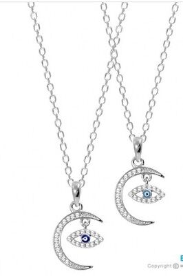 Sterling Silver 925 Evil Eye Crescent Moon Necklace