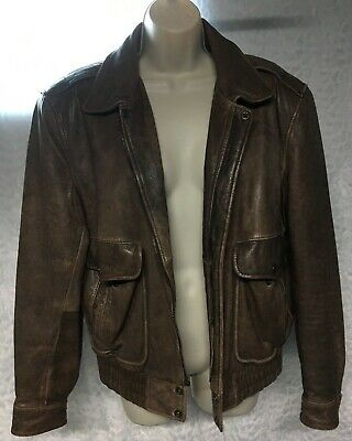 a28f950e853 Adventure Bound Distressed Brown Leather Jacket Coat Size S Thinsulate  Bomber