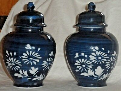 """Chinese Porcelain Lidded Ginger Jars Matching Set of 2 Blue and White Floral 6"""""""