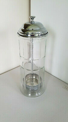 Tablecraft Old Fashioned Large Straw Dispenser Glass Metal Retro 11.5""
