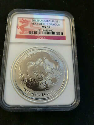 2012-P Australia $1 Year Of The Dragon 1 Oz. .999 Silver  Ngc Ms 69