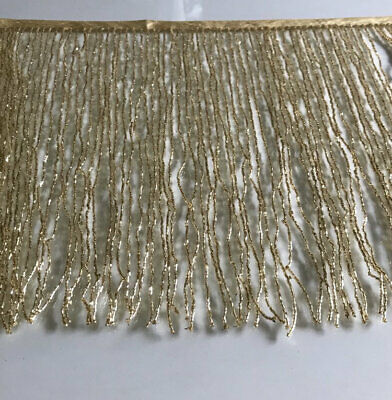 "By Yard-12"" Glass GOLD BUGLE Seed Beaded Fringe Lamp Costume Trim"