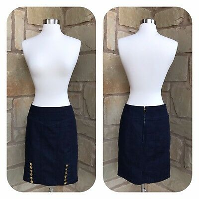 1f2e27729d Anthropologie Leifsdottir Size 4 Blue Denim Pencil Gold Button Military  Skirt