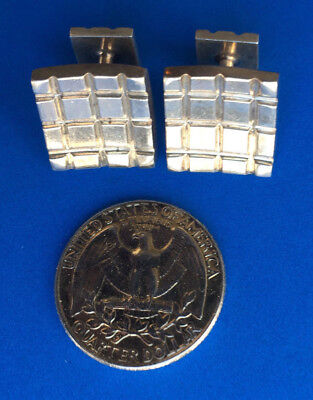Large Heavy Vintage Modernist Sterling Silver Grid Cufflinks  - Only Set On Ebay