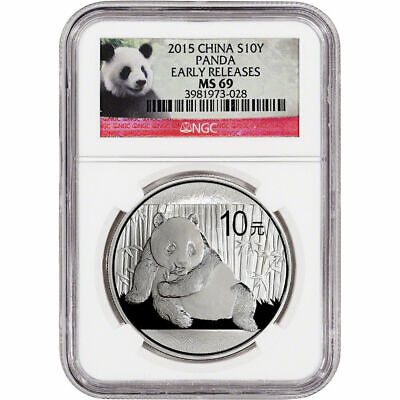 2015 China Silver Panda (1 oz) 10 Yuan - NGC MS69 - Early Releases Red Panda