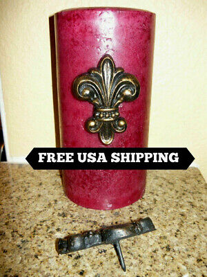 TWO Fleur de Lis Candle Pin, Crosses for candles, Old World, Medieval Home Decor