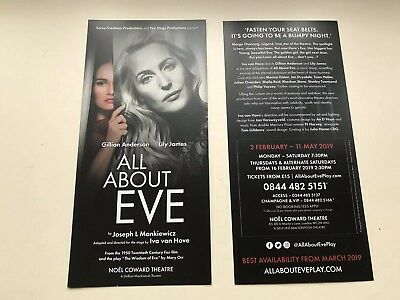 2 X flyer ALL ABOUT EVE  NOEL COWARD THEATRE Gillian Anderson Lily James