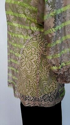 Nwt Style & Co Womens 2-Piece Lime/Khaki Striped Lace Top 3/4 Sleeves Size Small