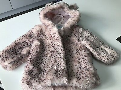 BNWT M&S Baby Girls Faux Fur Animal Print Hooded Jacket 6-9 Months RRP £34.50