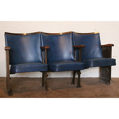 Row of 3 Vintage Art Deco C1930 Cinema Theatre Seat Chairs with Aisle End Panels