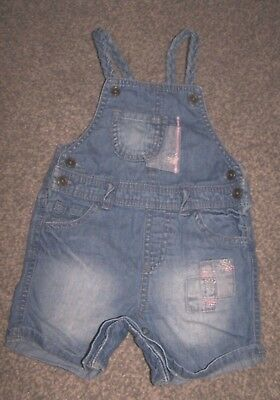 F&f Girls Blue Denim Dungaree Shorts 9-12 Months In Vgc !