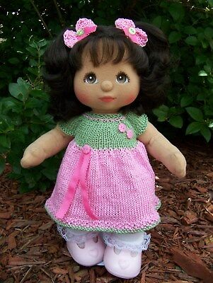 Hand Knitted Pink & Green Spring Dress wi Hair Bows to Fit Mattel My Child Dolls