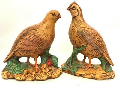 Vintage Pair of Porcelain Quail Handcrafted with Fine Detail Holland Mold Rare