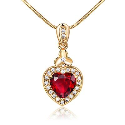 Vintage Gold Filled CZ Drop Sweater Chain Love Heart Crystal Ruby Women Necklace