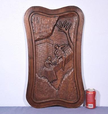 *Large French Deeply Carved Architectural Panel Solid Mahogany Romantic Theme