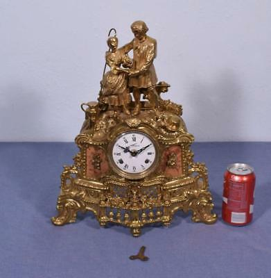 *Vintage Brass Mantel Clock Hermle FHS Clockworks Compleet But Not Running