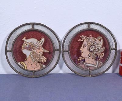 *Antique Pair of French Stained Leaded Glass Medallions w/Painted Enamel Faces