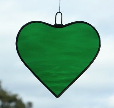 Stained Glass Hanging Ornament suncatcher (Love Heart) medium green water glass
