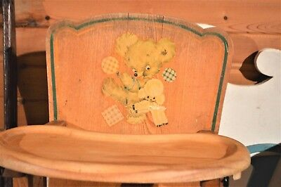 Cute! Vintage Oak Baby High Chair Adjustable Leg Support & Removable Tray 1950's