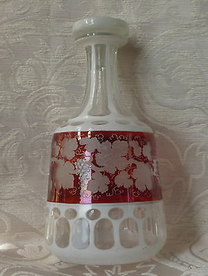 Bottiglia Biedermeier Boemia Bohemian White layered Clear&Red Cut Glass decanter