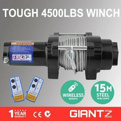 12V Electric Winch 4500LBS/2041KG Wireless Remote Steel Cable 4WD ATV Boat TK
