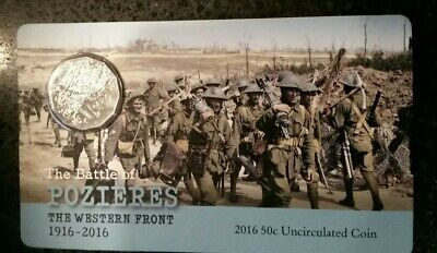 2016 50 cent australian coin uncirculated THE BATTLE OF POZIERES