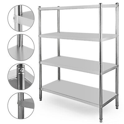 Heavy Duty Stainless Steel Shelving Rack Unit 4Tier Garage Storage Shelf Racking