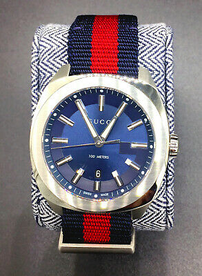 eaa60cbbbdc GUCCI GG2570 BLUE Dial Blue And Red Nylon Mens Watch  900 Ya142304 ...
