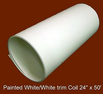 """White Both Sides Aluminum  Trim Coil .019 thickness 24""""w x 50'  Made in USA"""