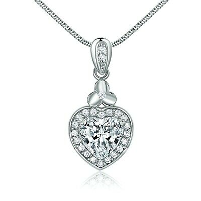 18K White Gold Filled Love Heart Crystal Women Ladies Pendant Necklace Jewelry