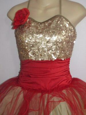 Rose Gold & Red Sequin Petals Filament Long Tutu Curtain Call Costume AMED