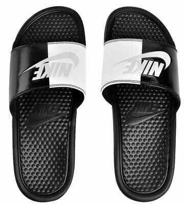sale retailer 9aebf 5e124 Nike Benassi Men Jdi Slide Sandals Flip Flops -Black White 343880-015 Uk10  Eur45