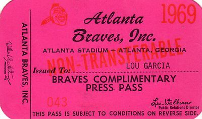 bb7163ef4 1969 Pass Ticket 1969 Atlanta Braves Hank Aaron HR 519 44 HR YR 21