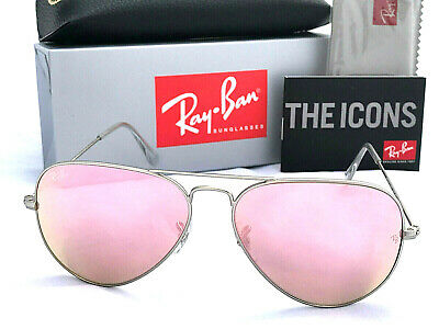 Ray-Ban Aviator Rayban Pink Mirror Lens Silver Frame Rb 3025 Size 58 Sunglasses
