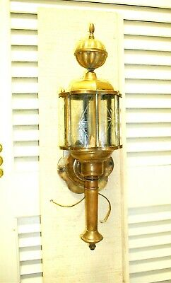 Antique Brass Etched Curved Glass Sconce Wall Porch Entry Patina