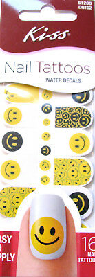 Kiss Nail Tattoos Water Decals - Easy To Apply - Smiley Faces